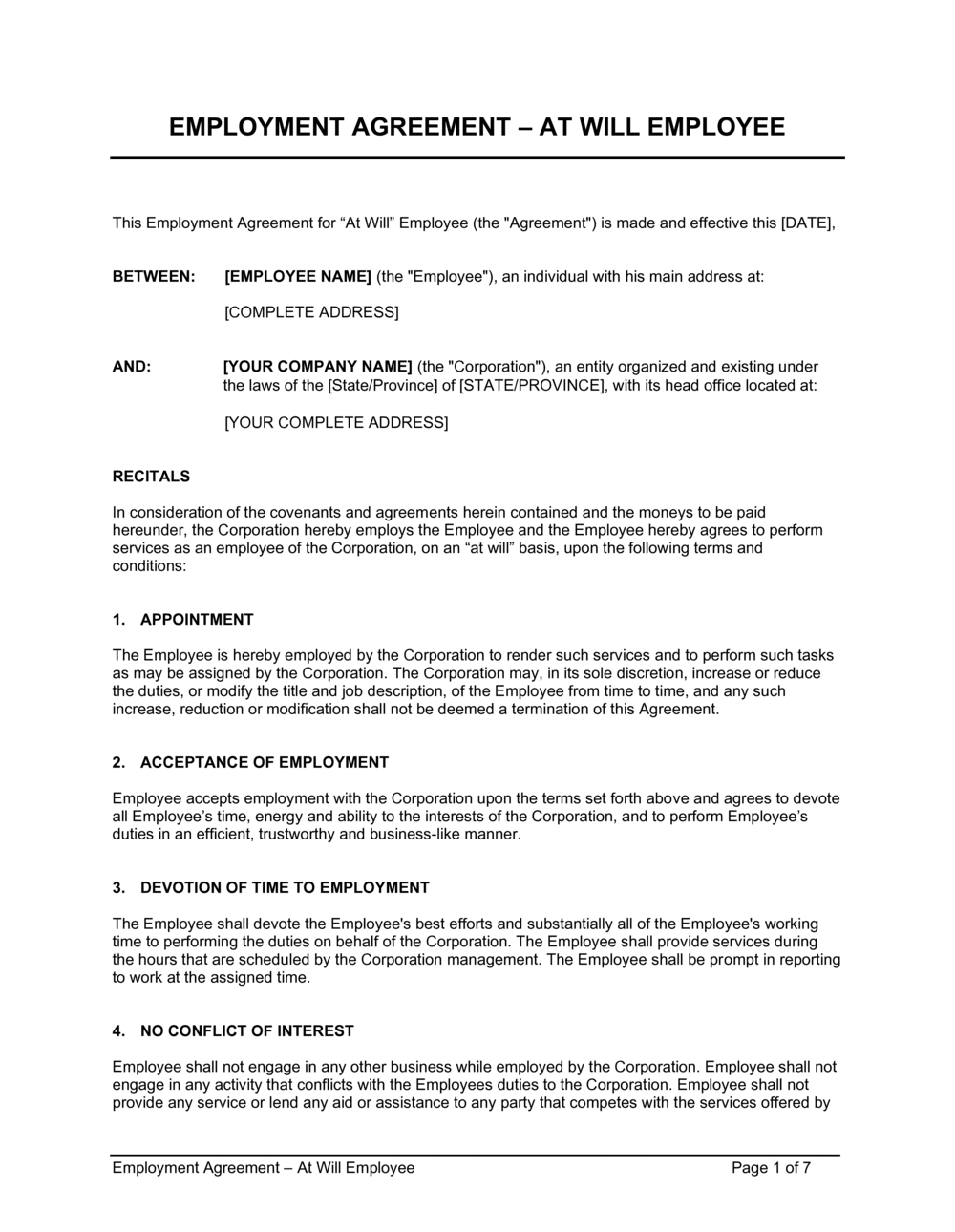 Business-in-a-Box's Employment Agreement At Will Employee Template