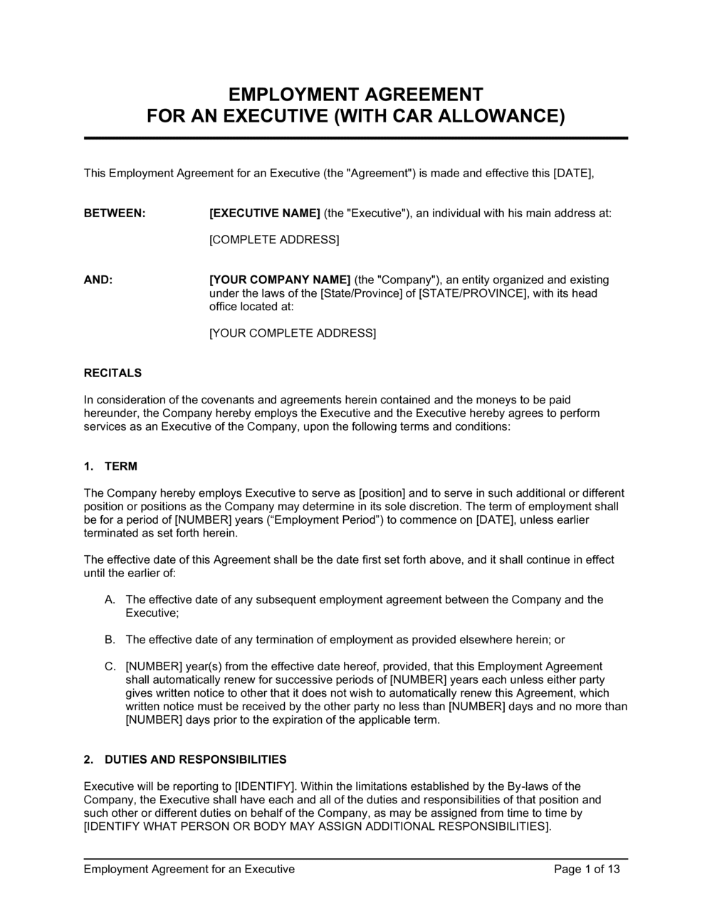 Business-in-a-Box's Employment Agreement Executive2 Template