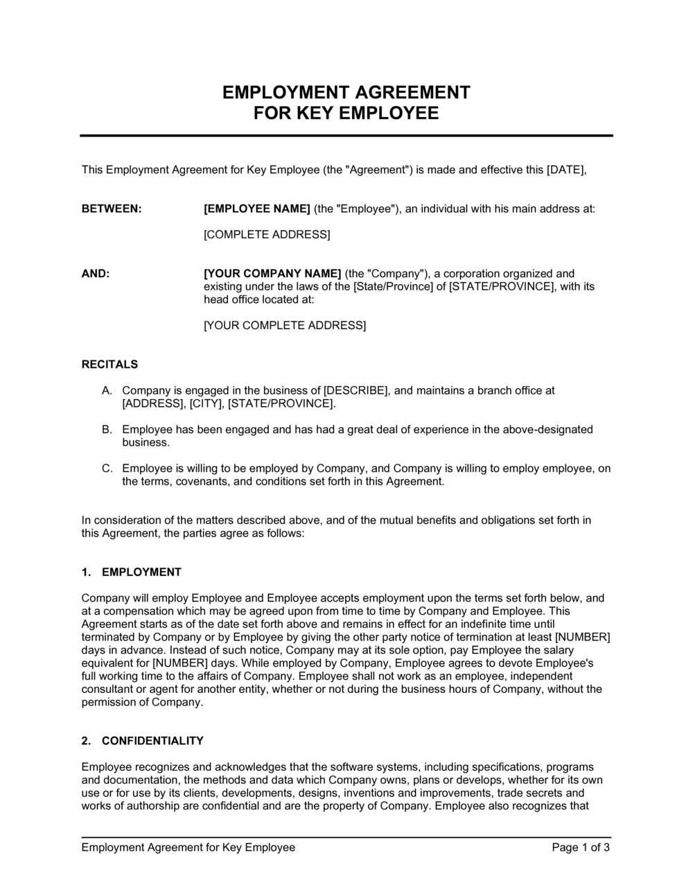 Business-in-a-Box's Employment Agreement Key Employee Template