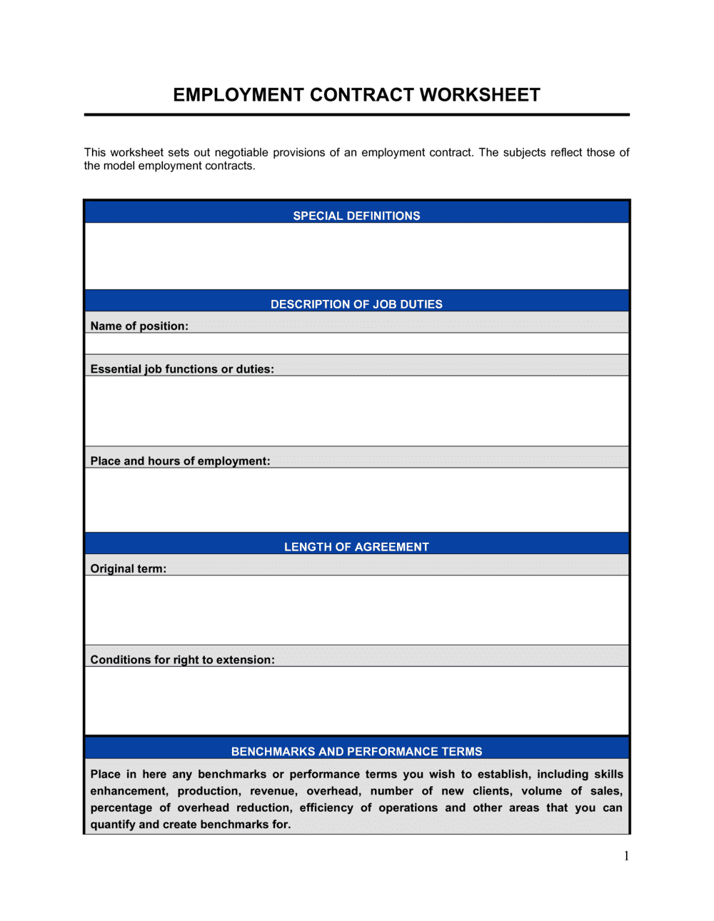 Business-in-a-Box's Employment Contract Worksheet Template