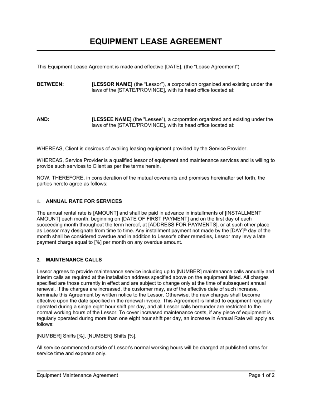 Business-in-a-Box's Equipment Lease Agreement Short Template