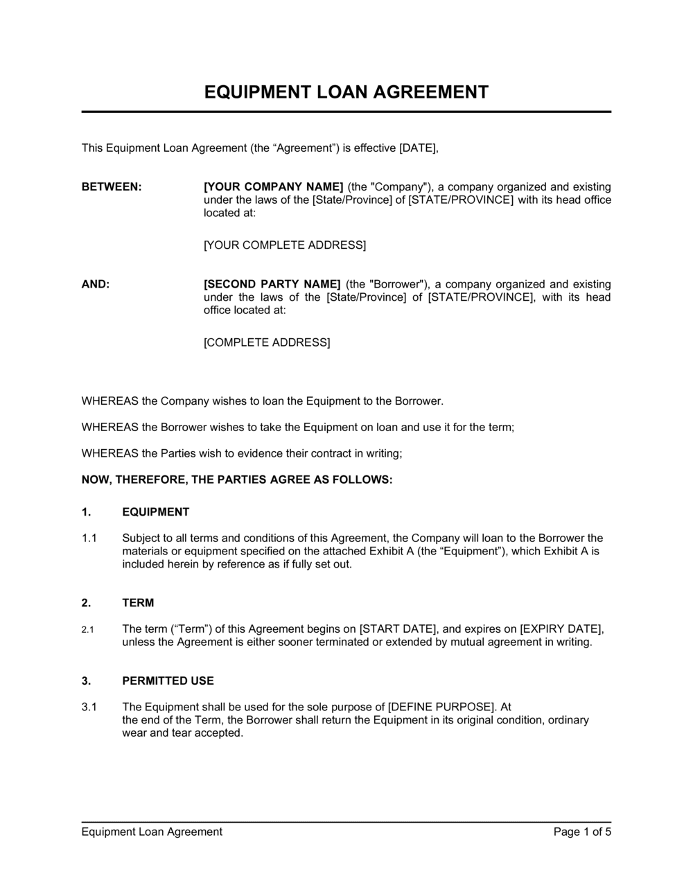 Business-in-a-Box's Equipment Loan Agreement Template
