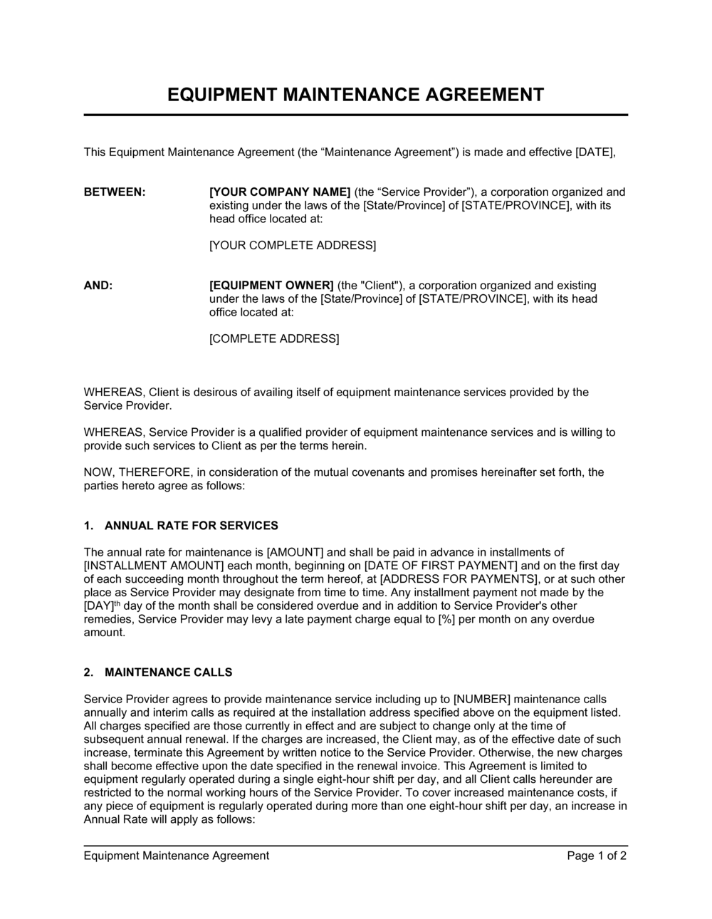 Equipment Maintenance Agreement Template By Business In A Box