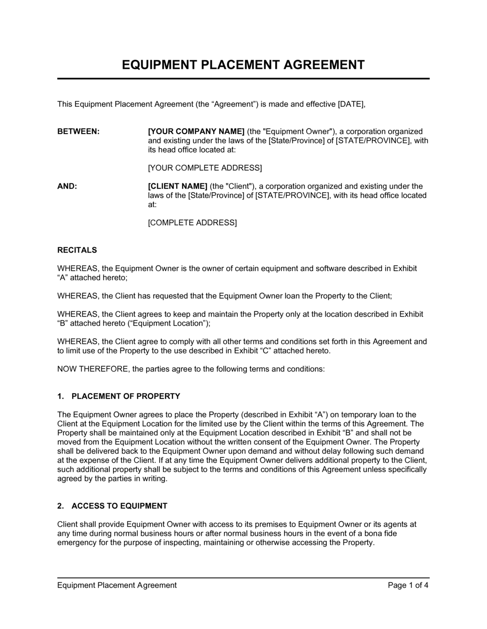 Business-in-a-Box's Equipment Placement Agreement Template