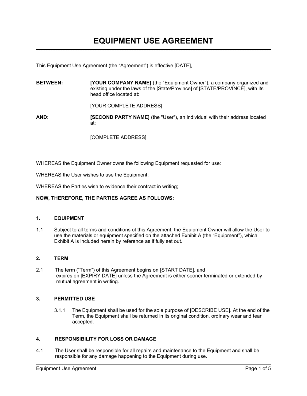 Business-in-a-Box's Equipment Use Agreement Template