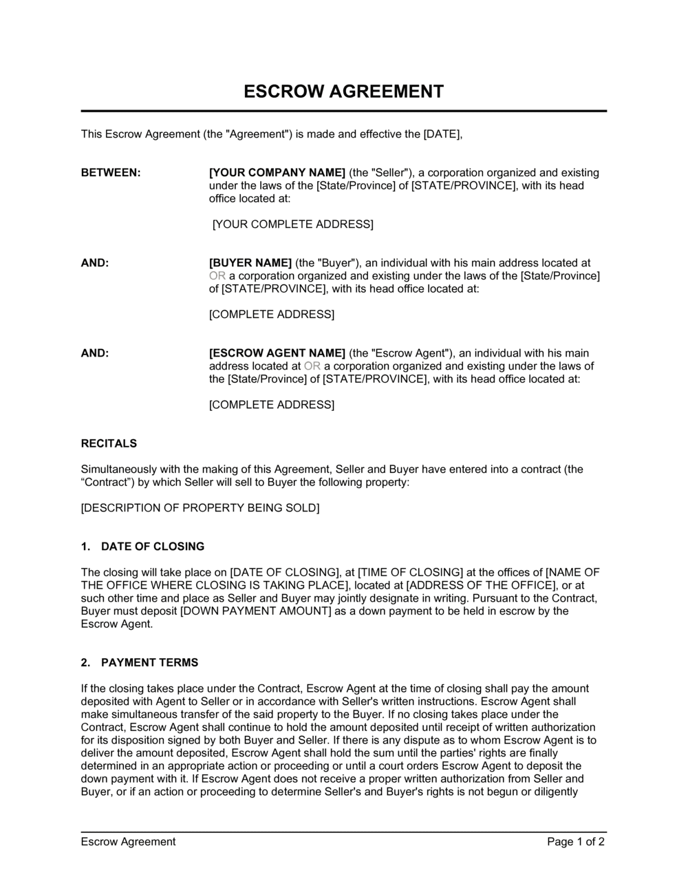Business-in-a-Box's Escrow Agreement Template