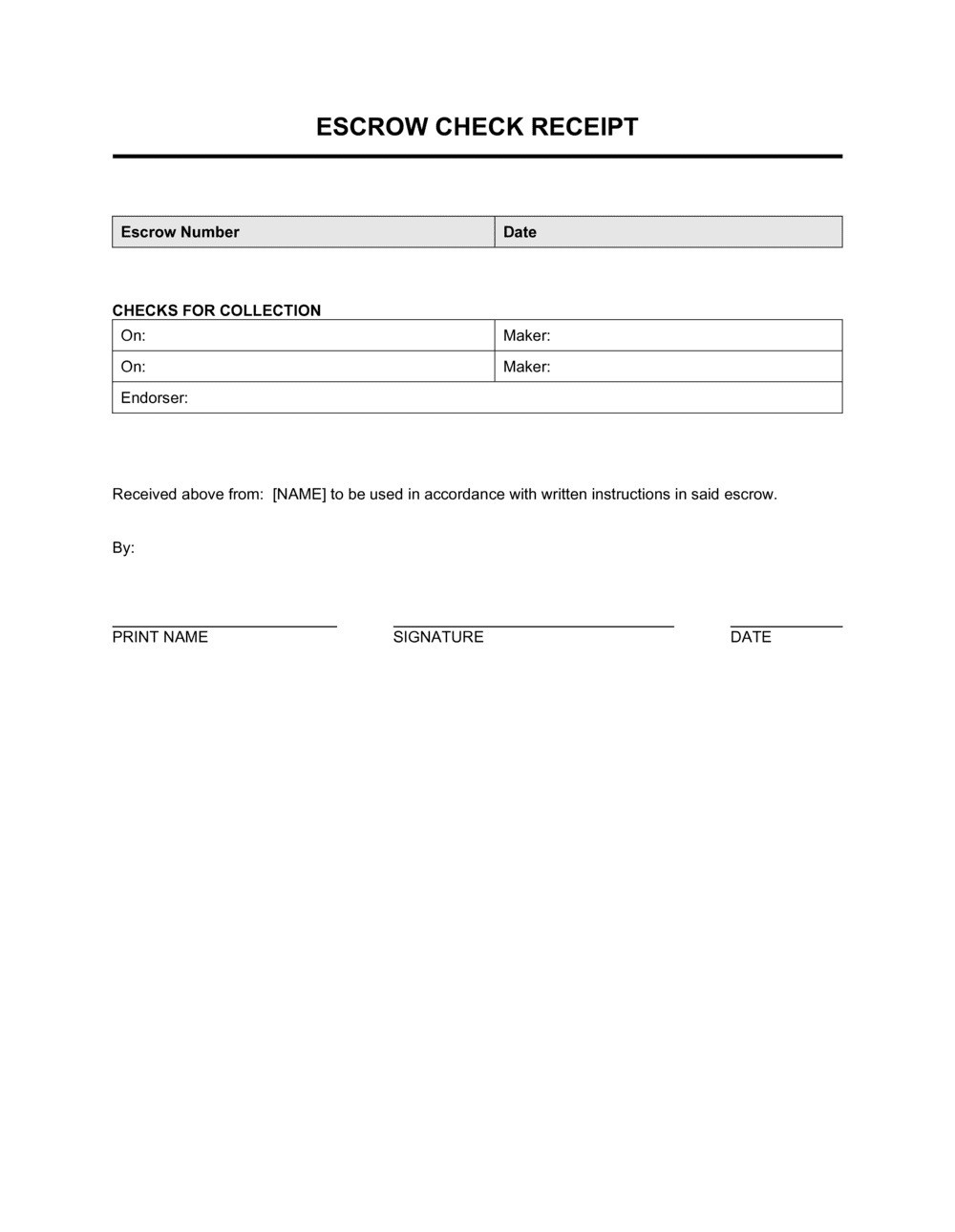 Escrow Check Receipt Template By Business In A Box