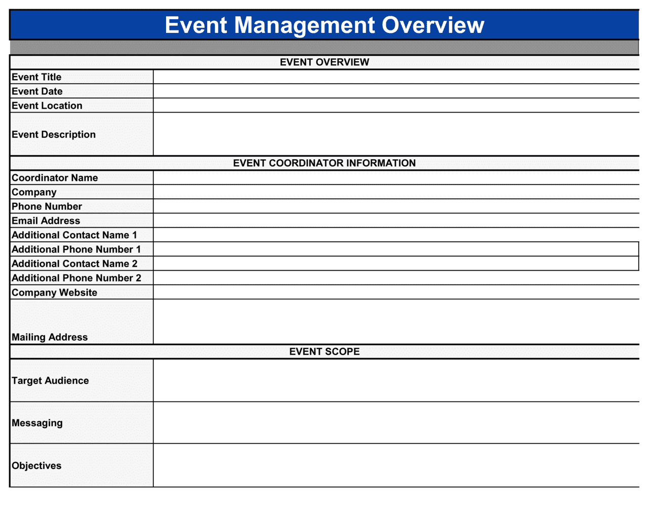 Business-in-a-Box's Event Management Template Template