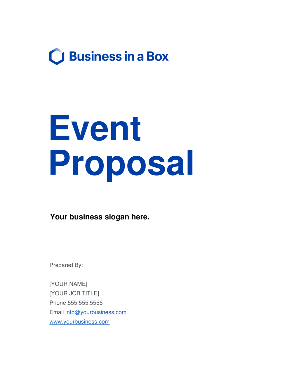 Business-in-a-Box's Event Proposal Template