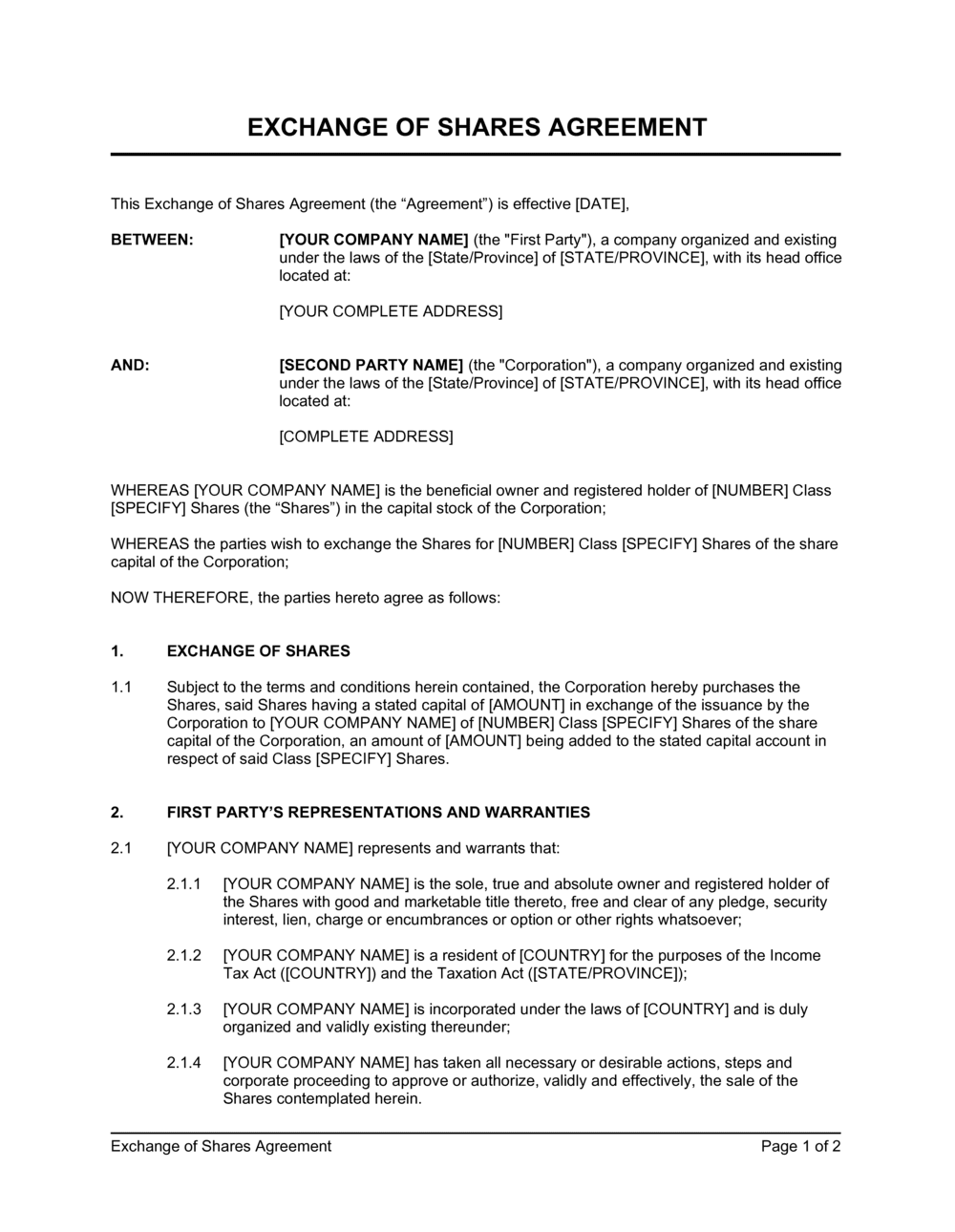 Business-in-a-Box's Exchange of Shares Agreement Template