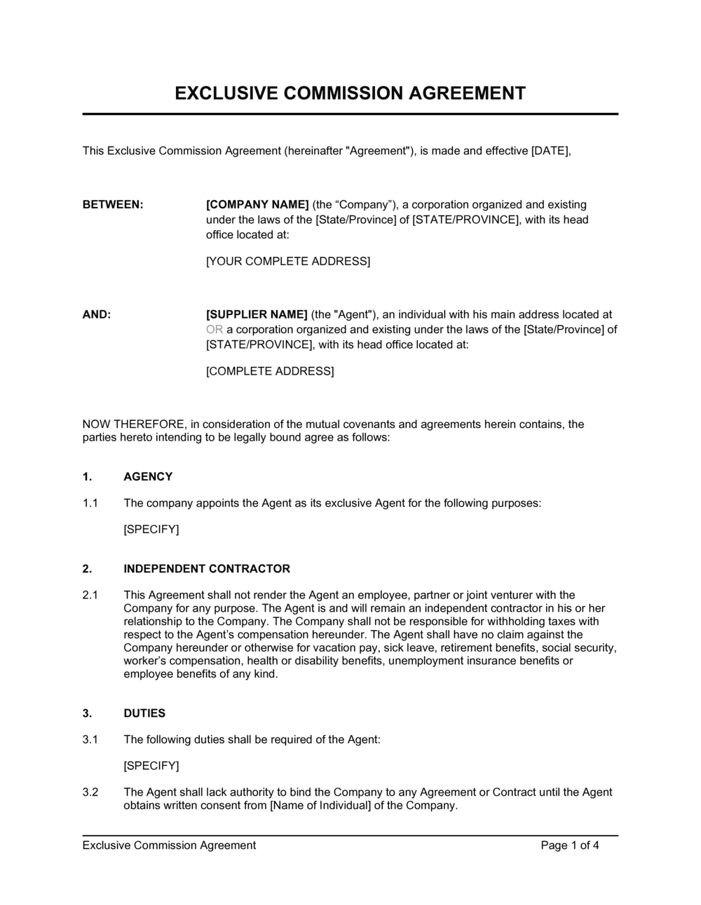 Business-in-a-Box's Exclusive Commission Agreement Template