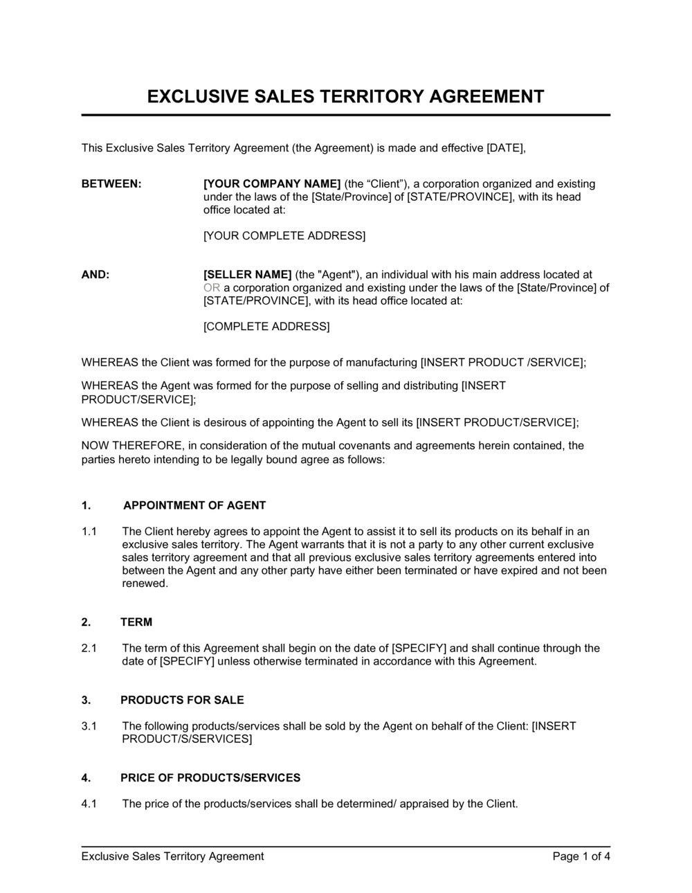 Business-in-a-Box's Exclusive Sales Territory Agreement Template