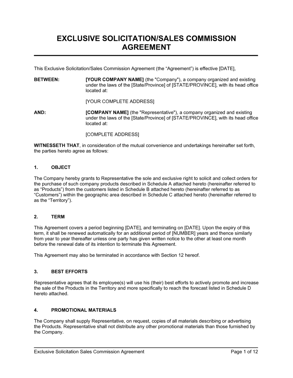Business-in-a-Box's Exclusive Sollicitation Sales Commission Agreement Template