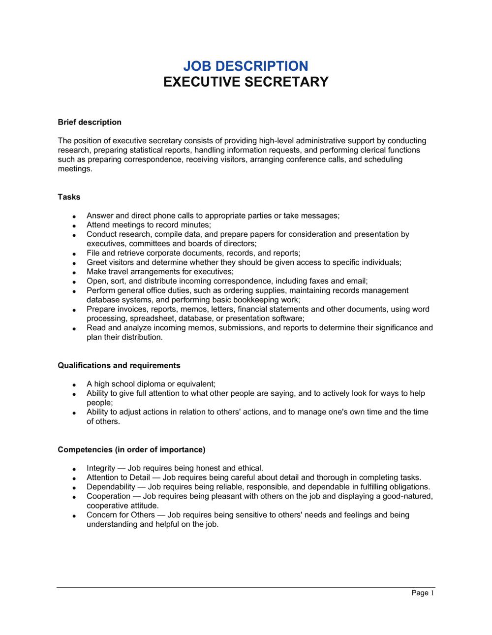 Business-in-a-Box's Executive Secretary Job Description Template