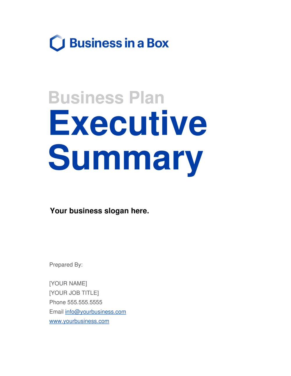 Business-in-a-Box's Executive Summary Template