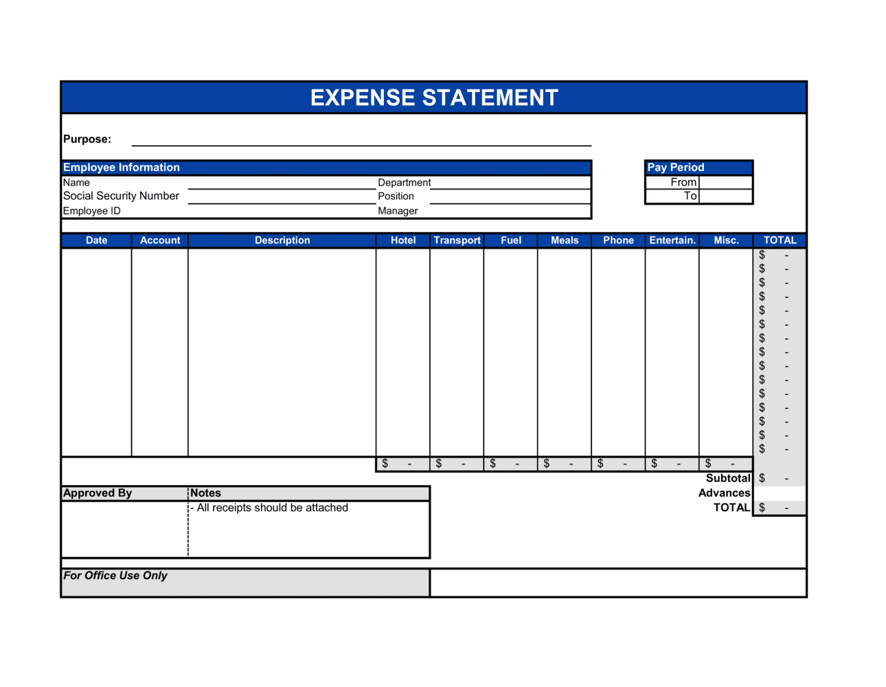 Business-in-a-Box's Expense Statement Template