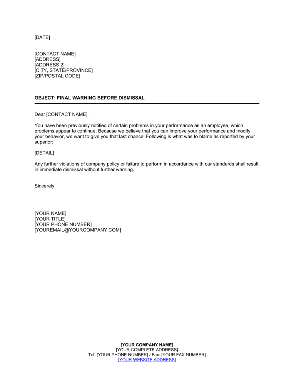 Sample Warning Letter For Absenteeism from templates.business-in-a-box.com