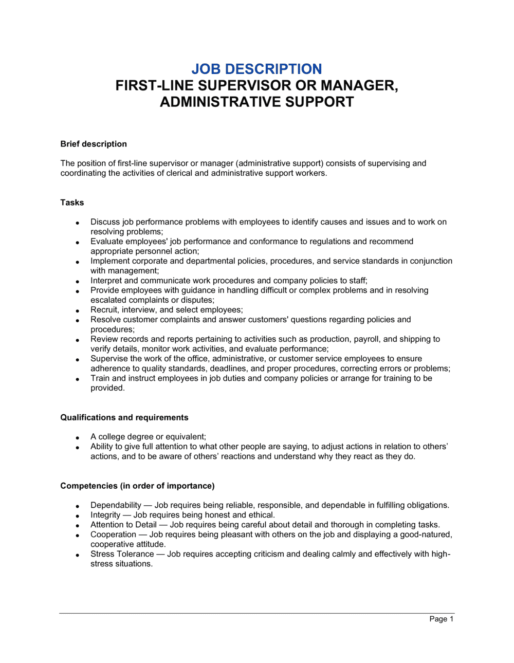 Business-in-a-Box's First-Line Supervisor or Manager, Administrative Support Job Description Template