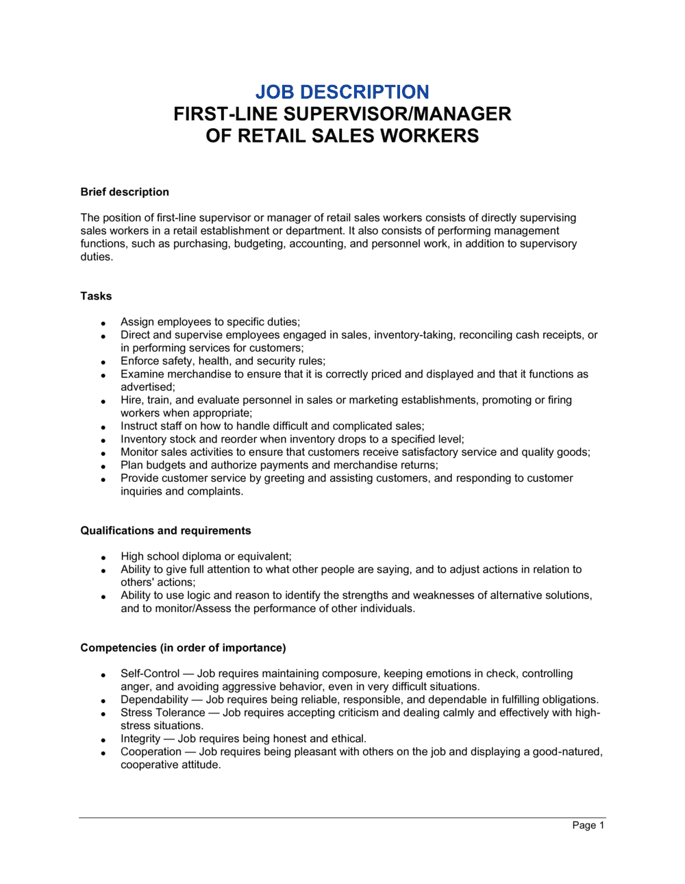 Business-in-a-Box's First-Line Supervisor or Manager of Retail Sales Workers Job Description Template
