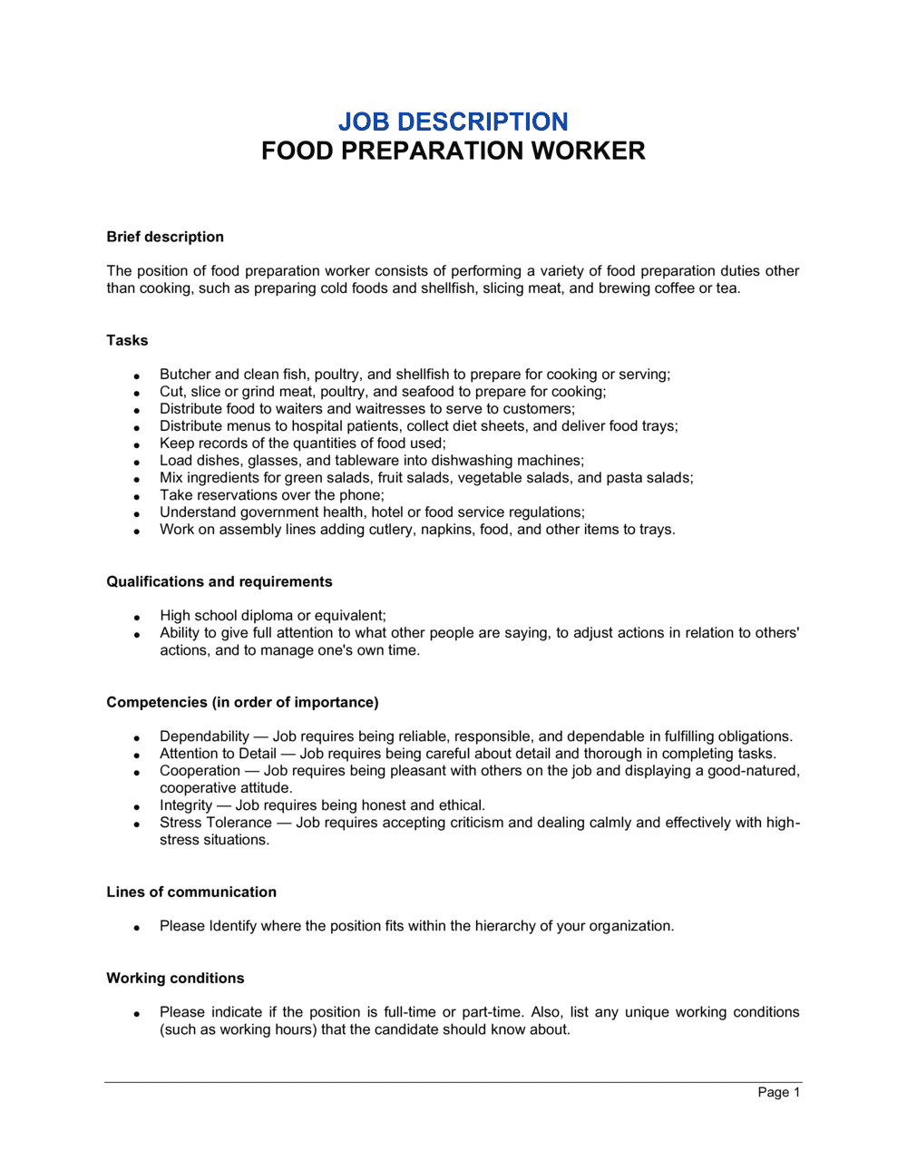 Business-in-a-Box's Food Preparation Worker Job Description Template