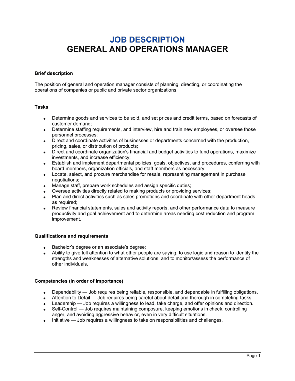 Business-in-a-Box's General and Operations Manager Job Description Template