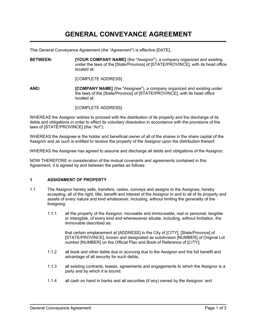 Business-in-a-Box's General Conveyance Agreement Moveable & Immoveable Template