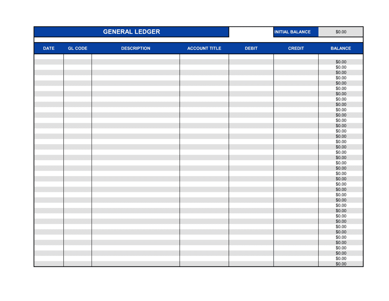 Business-in-a-Box's General Ledger Template