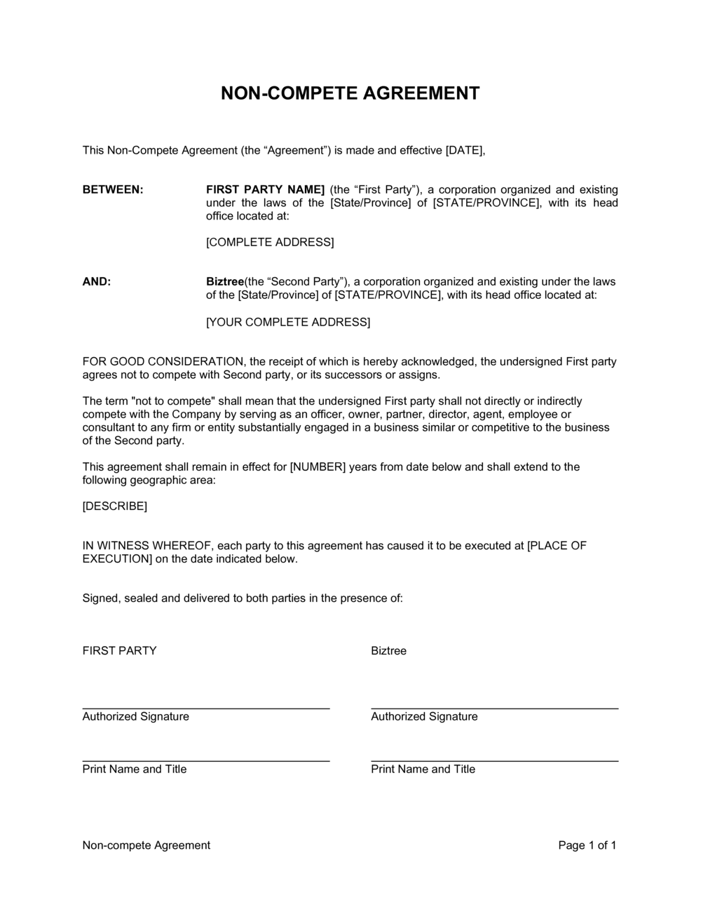 Business-in-a-Box's General Non-Compete Agreement Template