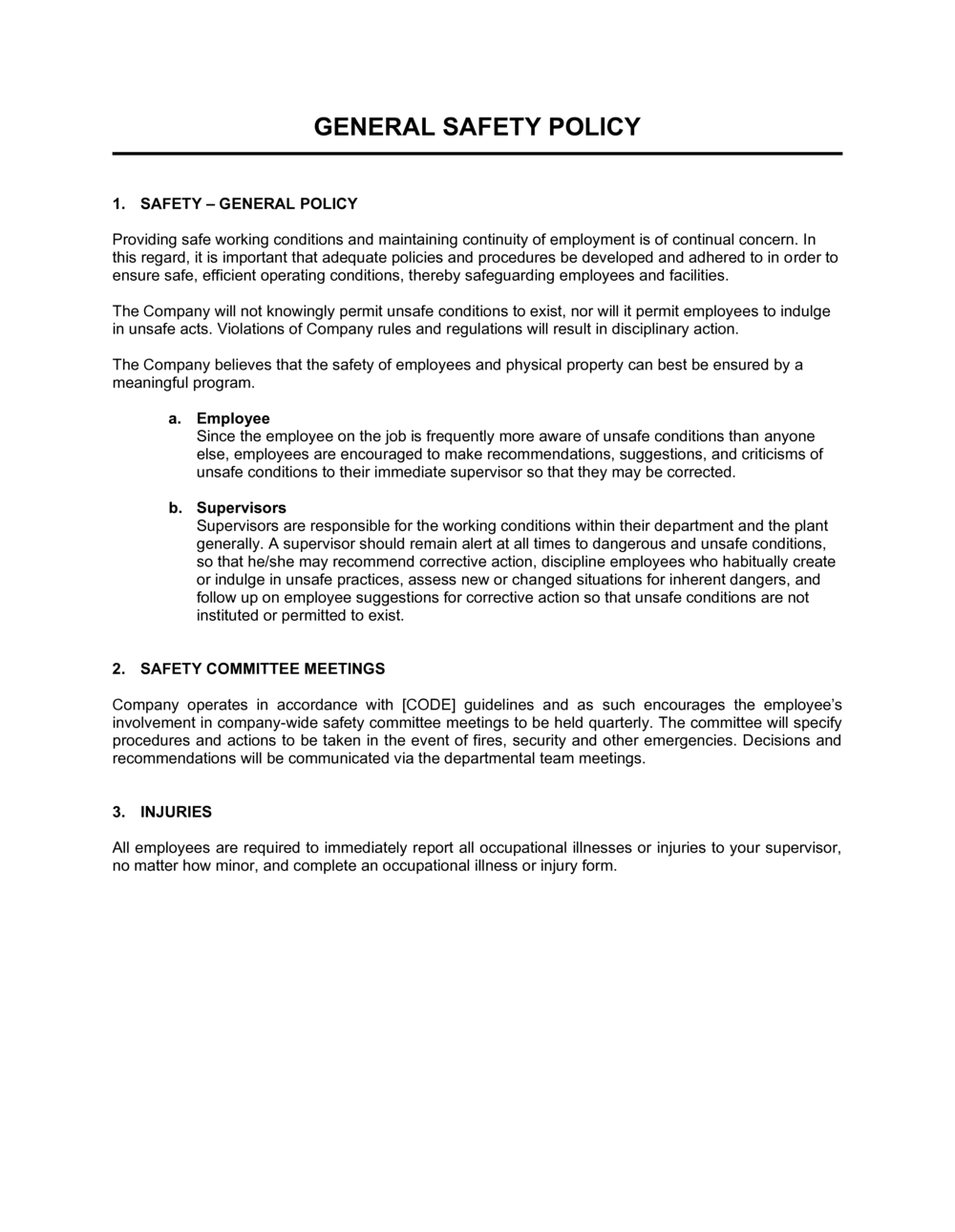 Business-in-a-Box's General Safety Policy Template