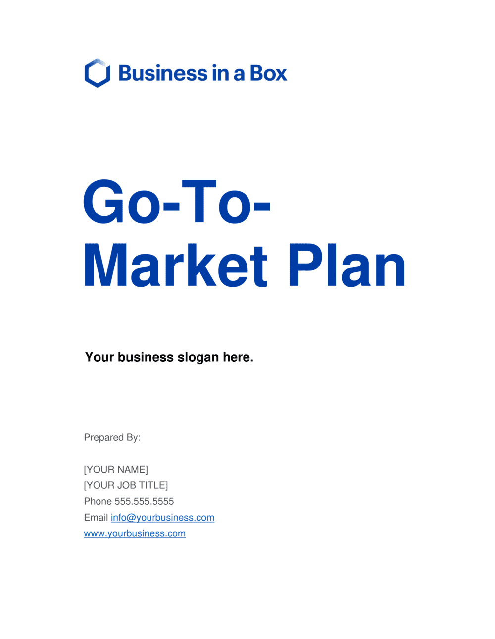 Business-in-a-Box's Go To Market Plan Template