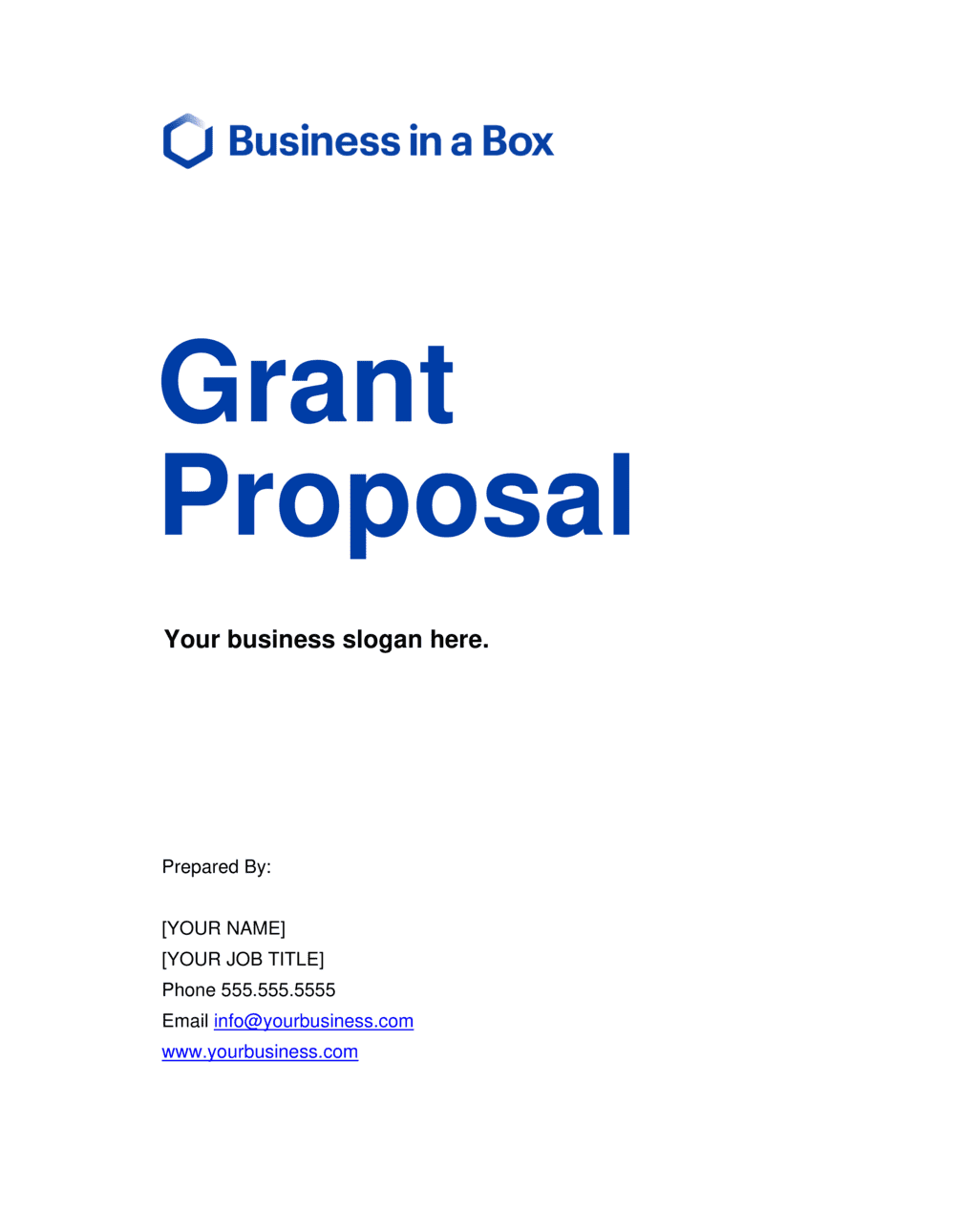 Business-in-a-Box's Grant Proposal Template