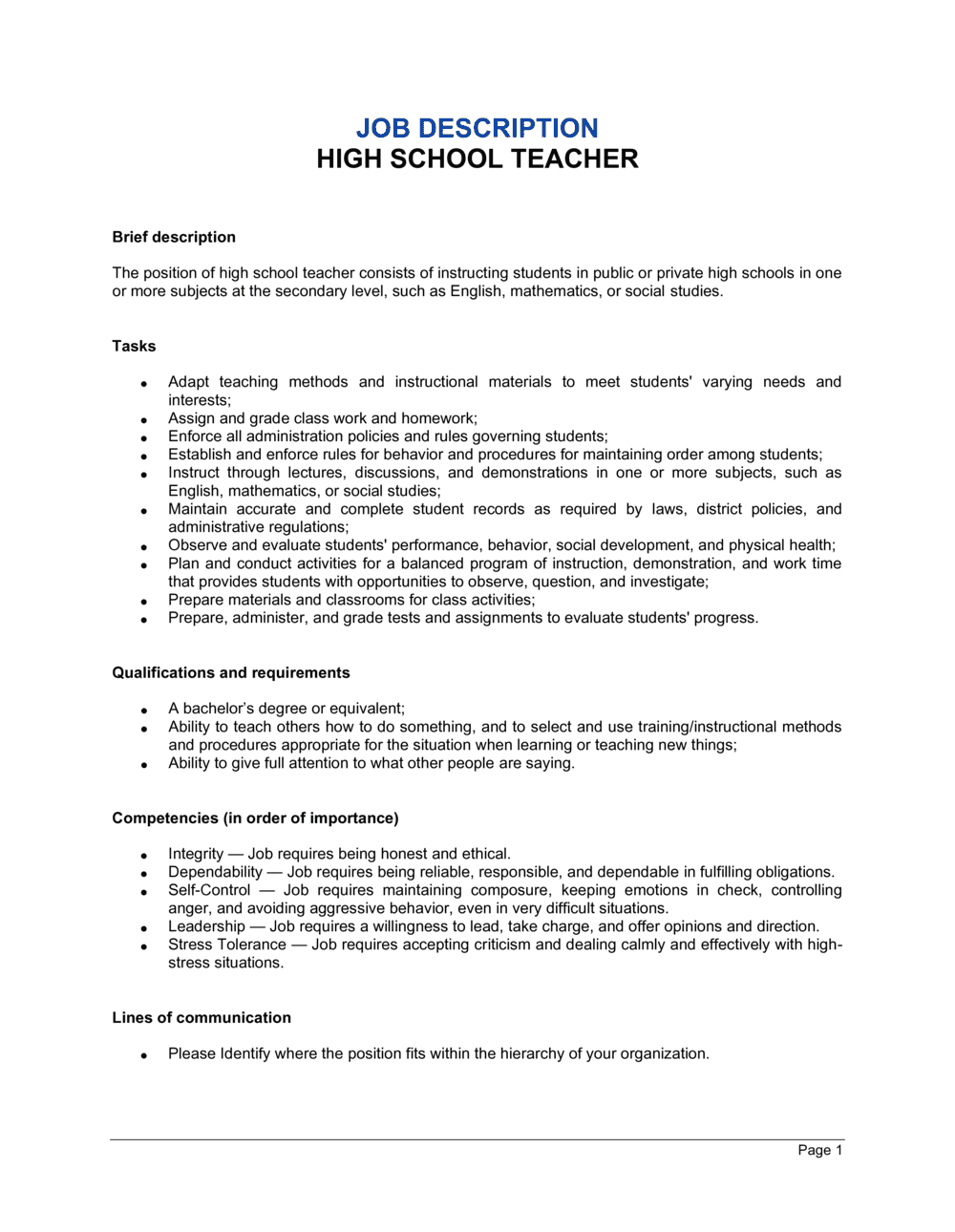 Business-in-a-Box's High School Teacher Job Description Template
