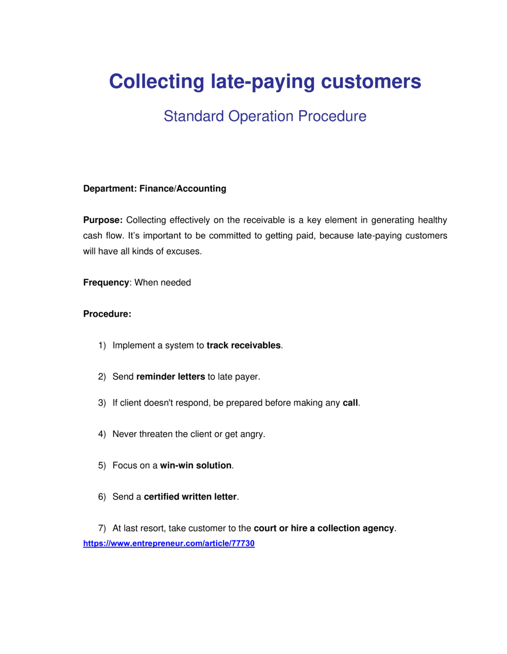 Business-in-a-Box's How to Collect Late Paying Customers