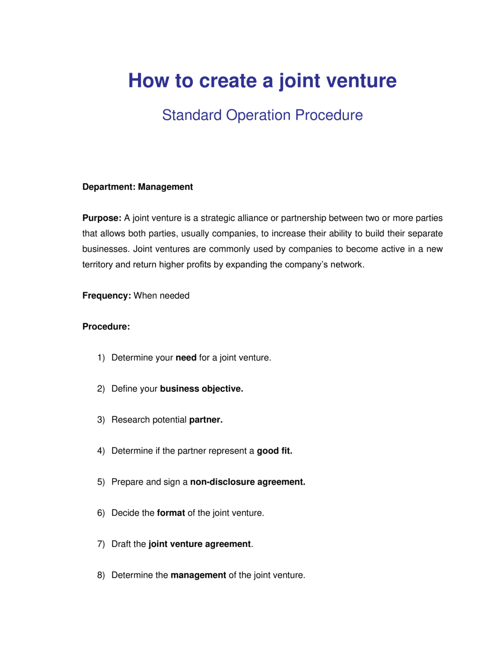 Business-in-a-Box's How to Create a Joint Venture Template
