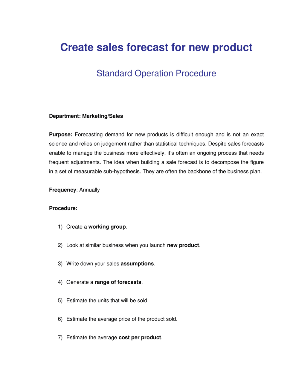 Business-in-a-Box's How to Create Sales Forecast for New Product Template