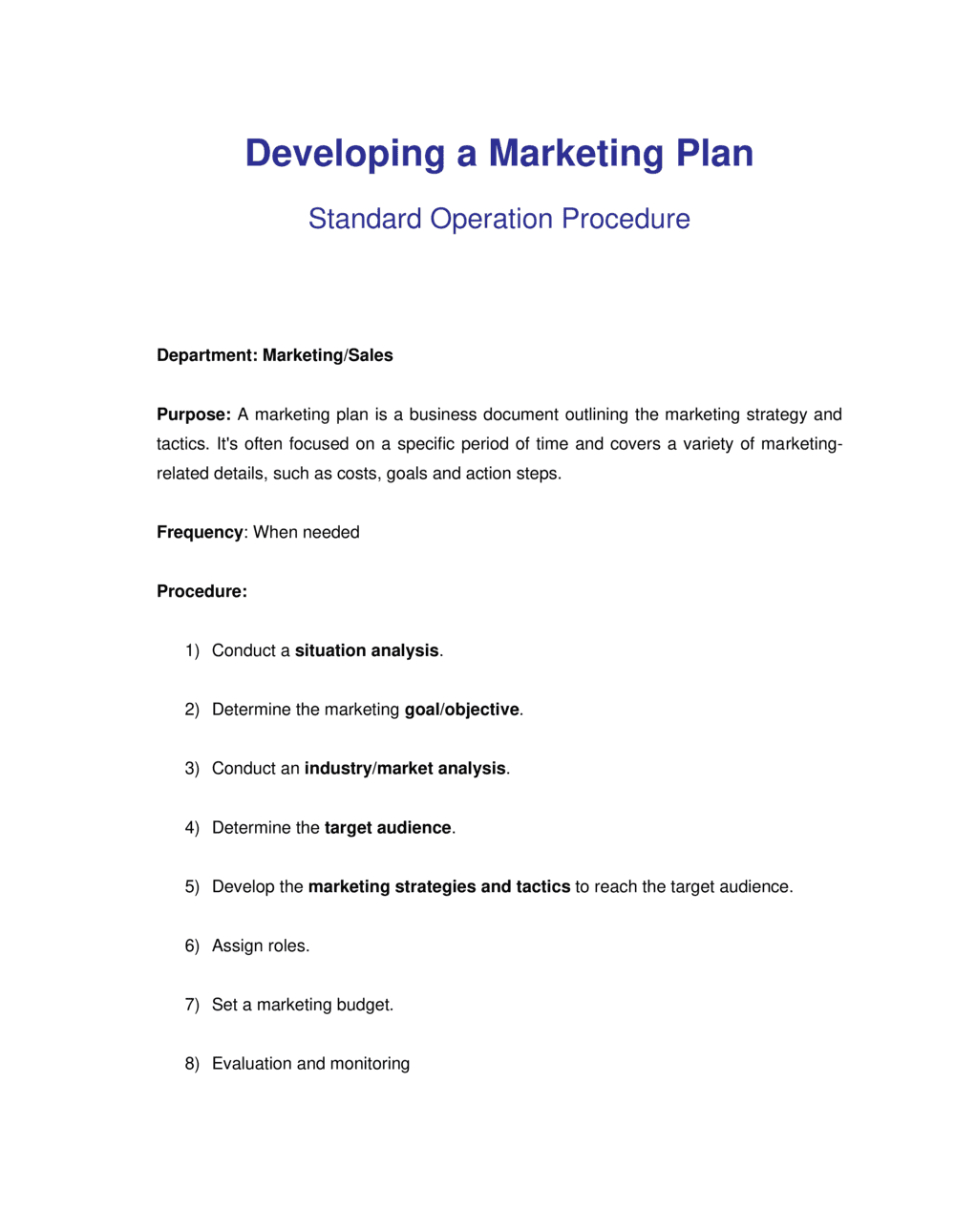 Business-in-a-Box's How to Develop a Marketing Plan Template