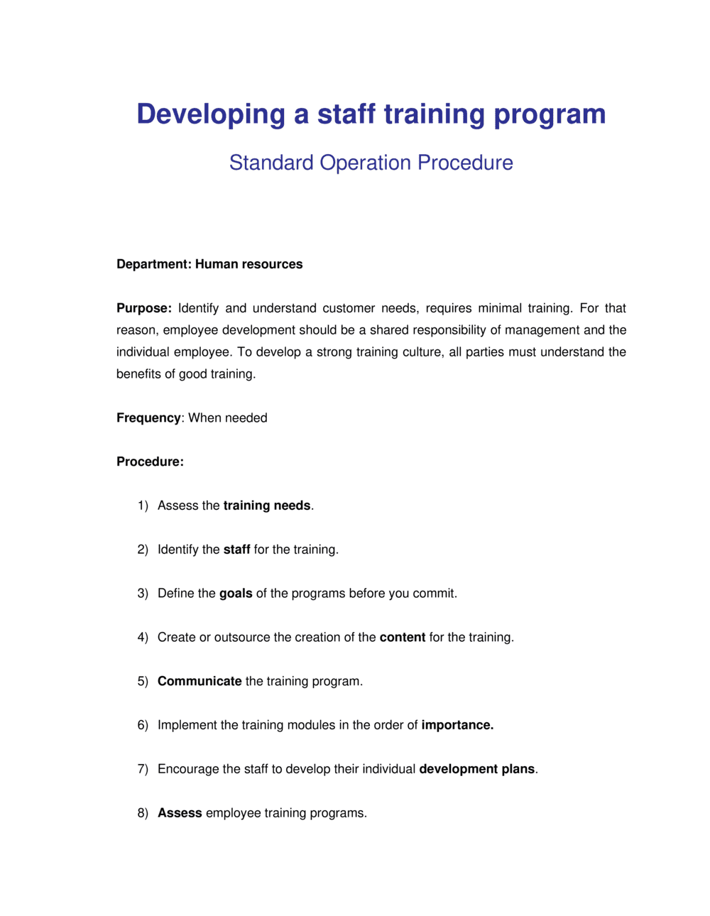Business-in-a-Box's How to Develop a Staff Training Program Template