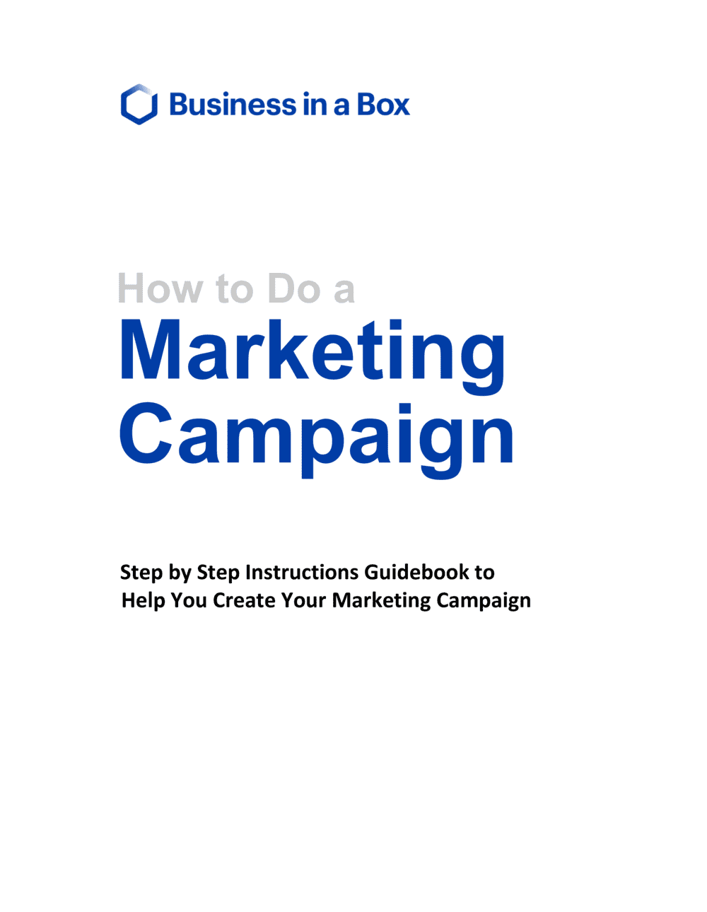 Business-in-a-Box's How To Do A Marketing Campaign Template
