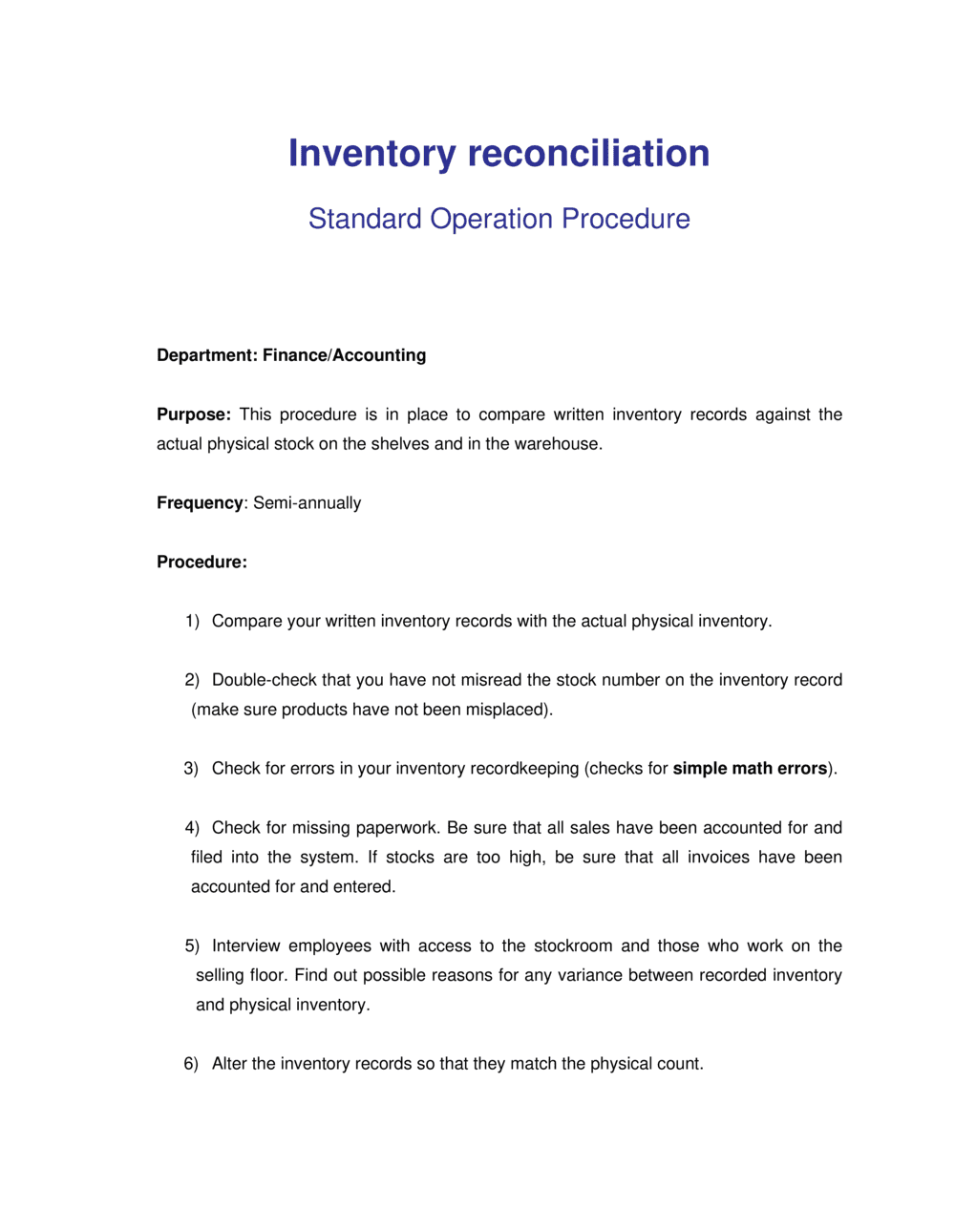 Business-in-a-Box's How to do Inventory Reconciliation