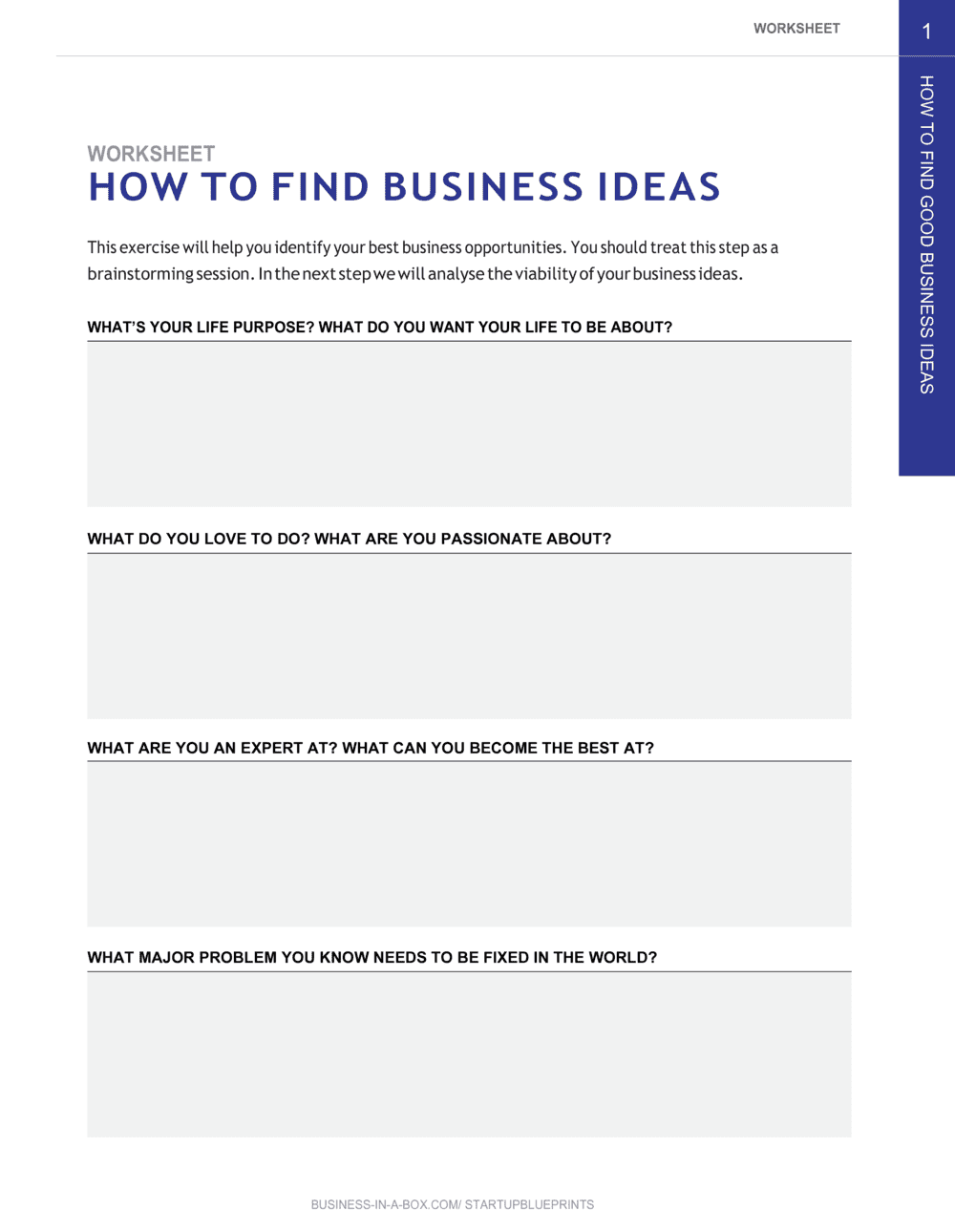 Business-in-a-Box's How To Find Good Business Ideas_startup Blueprints_chapter 1 Worksheet Template
