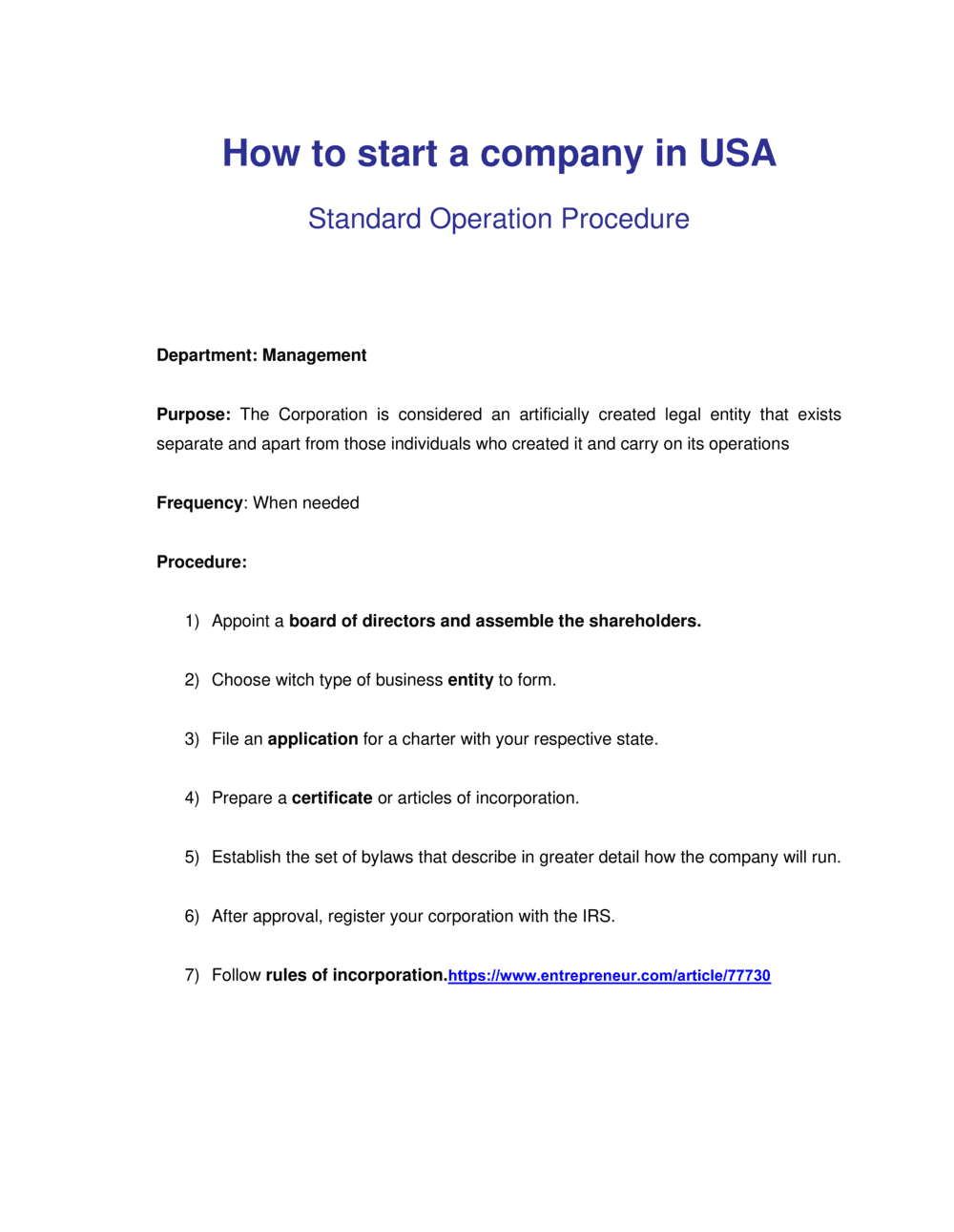 Business-in-a-Box's How to Incorporate a Business Template