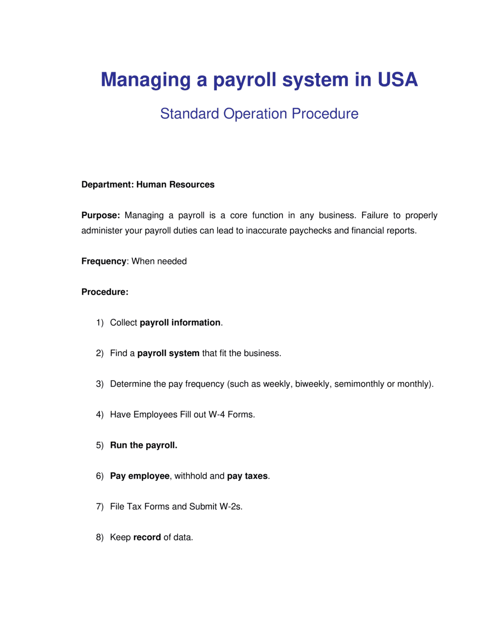 Business-in-a-Box's How to Manage a Payroll System - USA