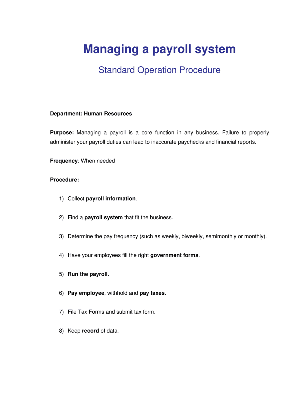 Business-in-a-Box's How to Manage a Payroll System