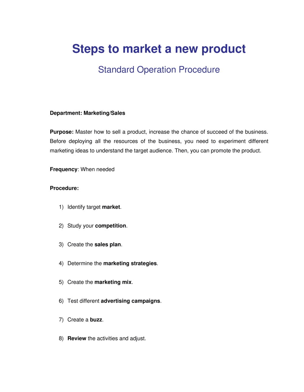 Business-in-a-Box's How to Market a New Product Template