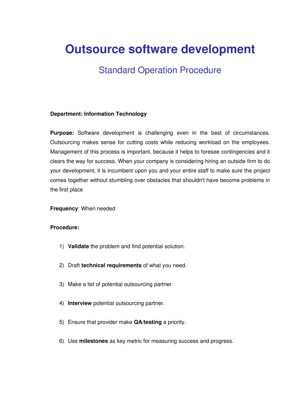 Business-in-a-Box's How to Outsource Software Development Template