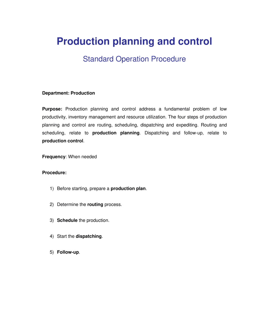 Business-in-a-Box's How to Plan and Manage Production Template