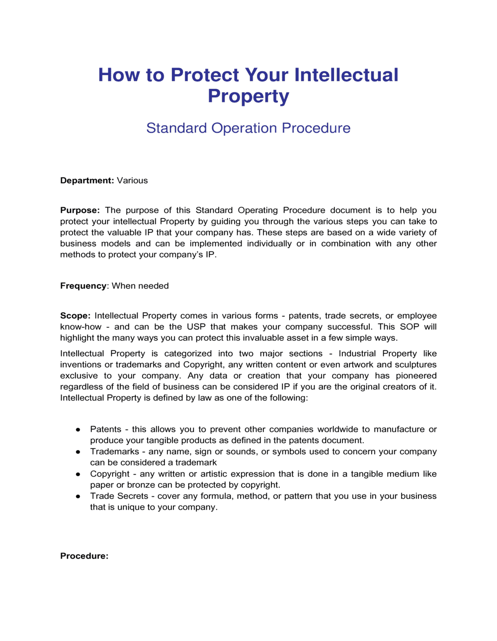 Business-in-a-Box's How To Protect Your Intellectual Property Template