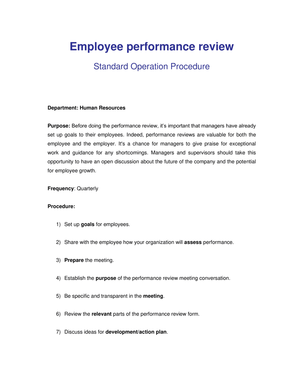 Business-in-a-Box's How to Review Employee Performance Template