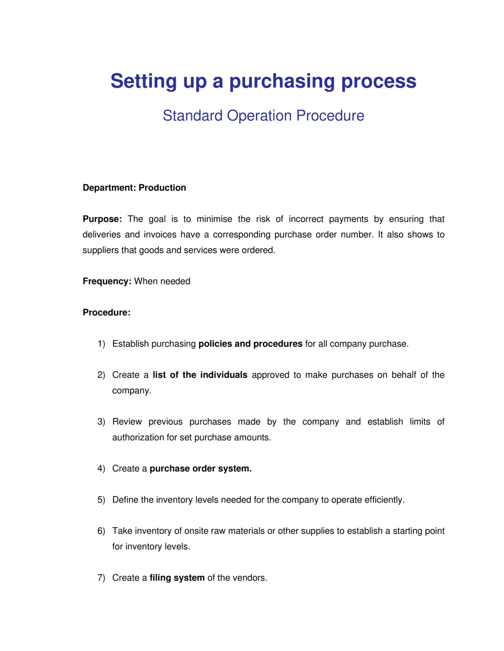 Business-in-a-Box's How to Setup a Purchasing Process