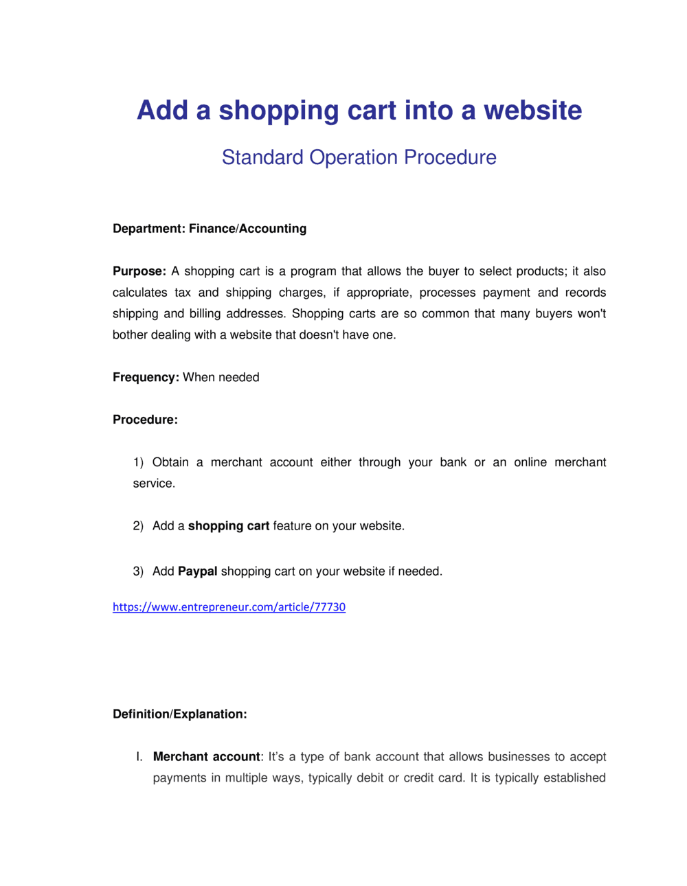 Business-in-a-Box's How to Setup a Shopping Cart
